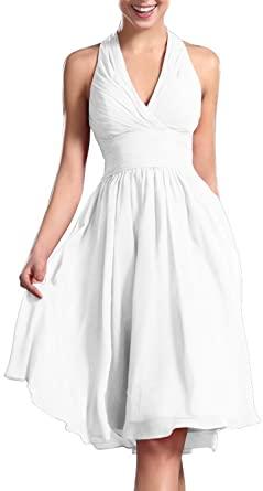 KARMA PROM Women's Knee Length Halter Dress Bridesmaid Dresses .