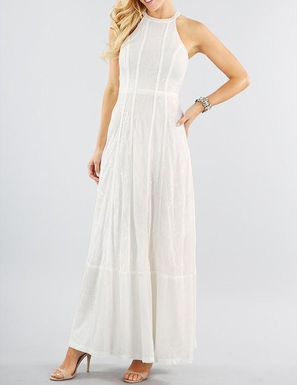 White Lace Halter Maxi Dress - Bria Bella & Co – Bria Bella & C