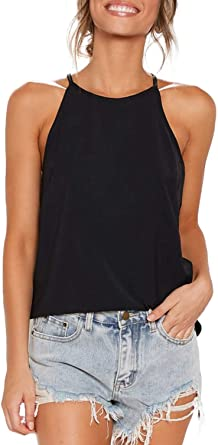 Sarin Mathews Womens Halter Tops Casual Basic Tee Shirts Summer .