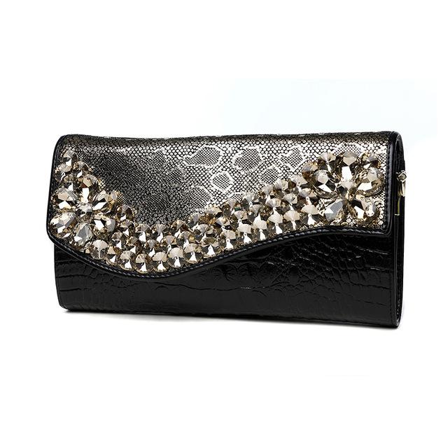 Serpentine Diamonds Flower Hand Clutch Bag Women Genuine Leather .