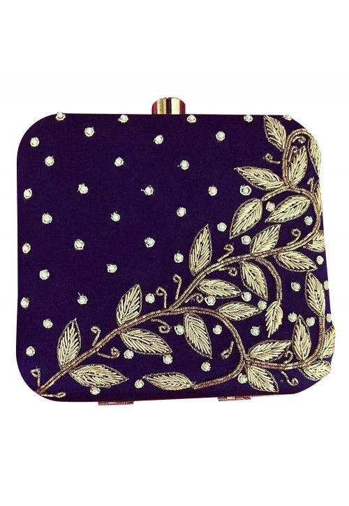 Hand Embroidered Art Silk Box Clutch Bag in Purple : DVN3