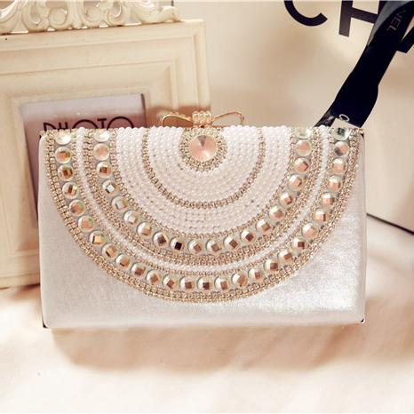 Pearl Evening Bags 2016 Crystal Beading Ladies Bridal Hand Bags .