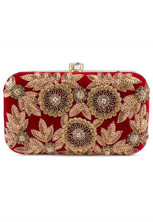 Hand Embroidered Synthetic Box Clutch Bag in Red : DVN1