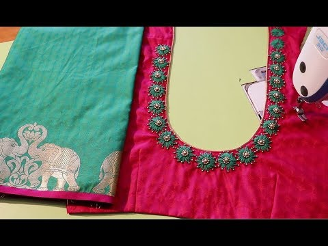 Hand embroidery neck design for silk saree blouse - YouTu