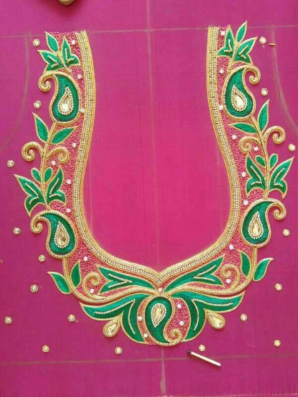 Saree blouse embroidery (With images) | Blouse hand designs .