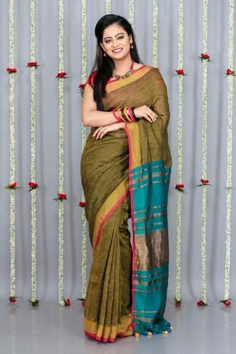 Bengal Handloom Linen Saree at Rs 1799/piece | Handloom Sarees .