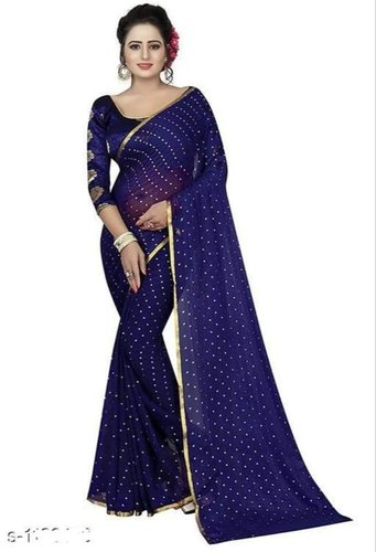 6 m (with blouse piece) Wedding Ladies Blue Handloom Sarees, Rs .