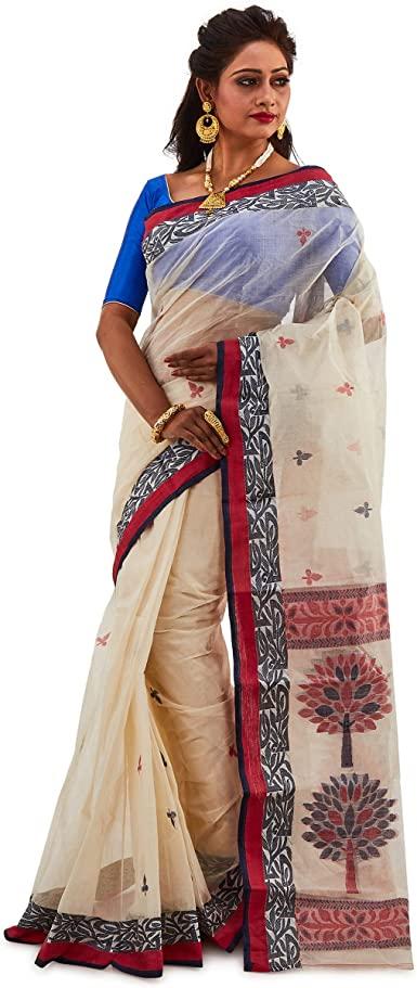 Amazon.com: SareesofBengal Women's Bengal Tant Saree Cream Tangail .