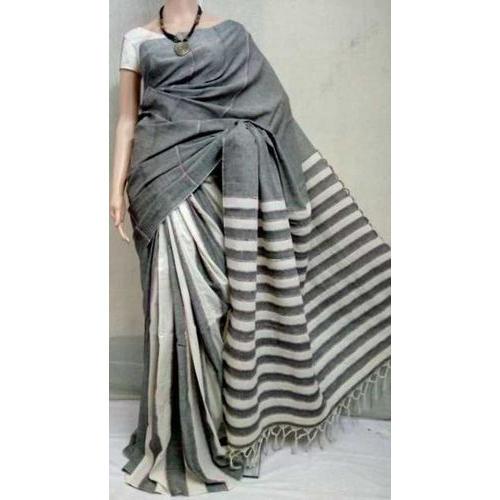 Khadi Gray and White Handloom Sarees, Length: 6.3 m, Rs 950 /piece .