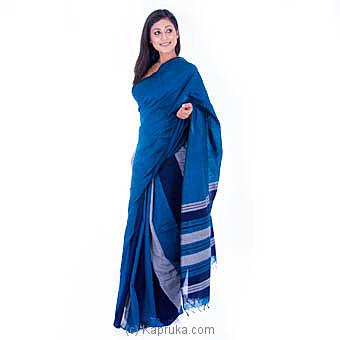 Handloom Saree With Blue And Gray Stripes Price in ... - Kapruka.c
