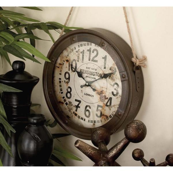 Litton Lane 3 Assorted 11 in. Vintage Round Hanging Wall Clocks .