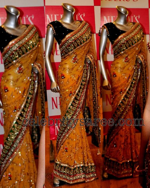 Heavy Work Reception Sarees by Neerus | Work sarees, Indian saree .