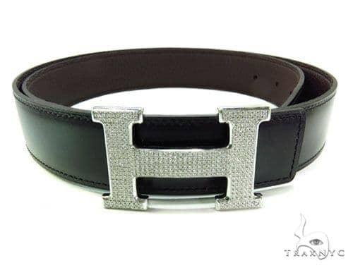 Diamond Hermes Belt Buckle Mens Style White Stainless Steel Round .