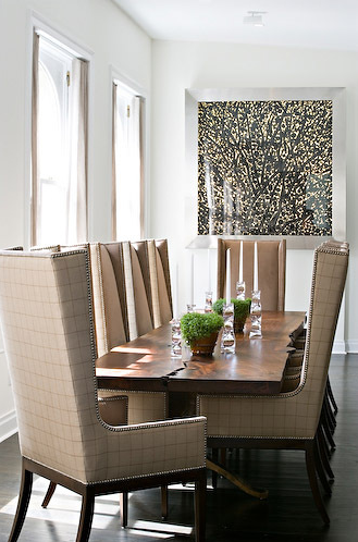 High back dining chairs + table means a cozy comfortable dining .