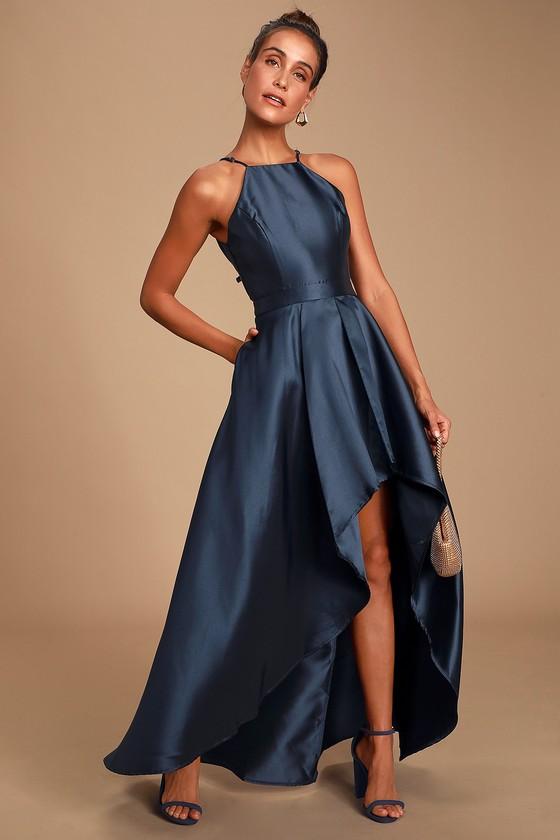 Lovely Navy Blue Dress - High-Low Dress - Satin Go