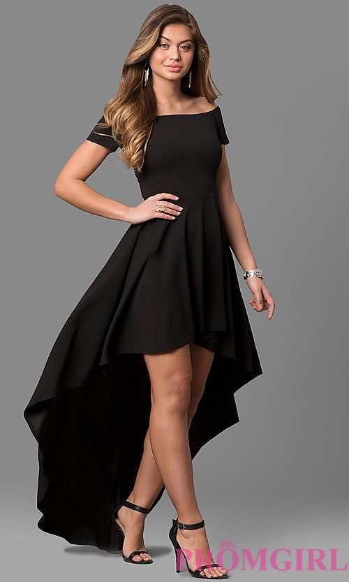 High-Low Party Dress with Off-the-Shoulder Sleeves (With images .