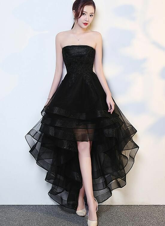 Black High Low Tulle Modest Short Prom Dress,Sexy Cocktail .