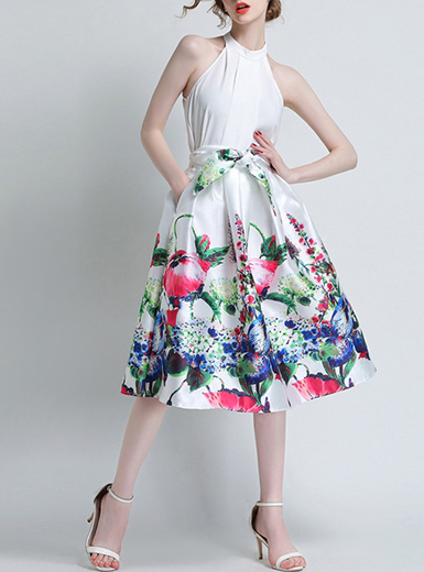 Women's Full Skirt - High Waisted / Floral Print over White / Self .
