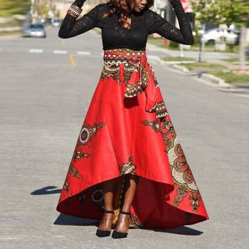 AFRICAN PRINT HIGH WAIST ASYMMETRICAL SKIRT | ADDICTED2FASHI