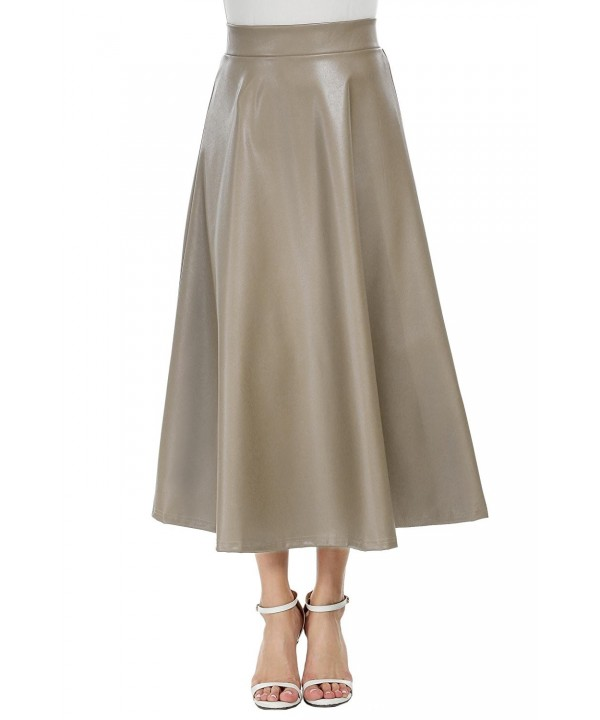 Women High Waisted Skirts Full Long Pleated A Line Faux Leather .