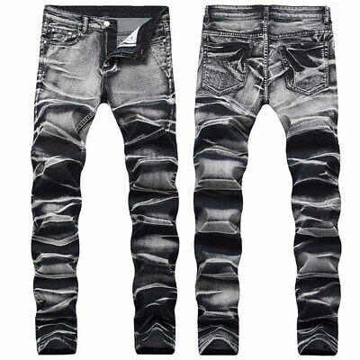 Mens Pleated Trousers Hip Hop Jeans Fashion Slim Fold Skinny Denim .