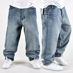 Free shipping loose hiphop jeans male water wash brief hip hop .