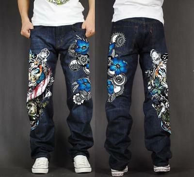 Fashion Men's Hip Hop Jeans Skate Baggy Loose Rap Denim Print .