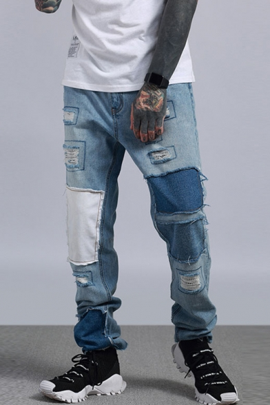 Guys Cool Hip Hop Street Fashion Patched Relaxed Fit Straight .