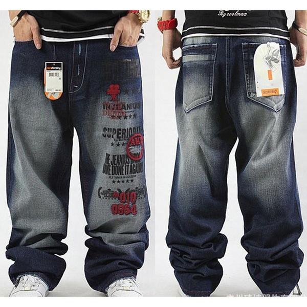 Plus Size Hip Hop Baggy Jeans Men Letter Print Hip Hop Dance Pants .
