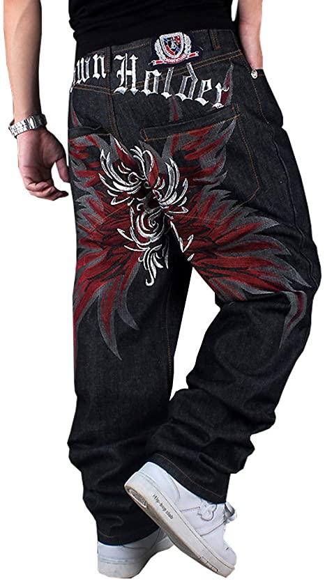 QBO Men's Hip-hop Embroidered Printed Baggy Denim Jeans Pants .