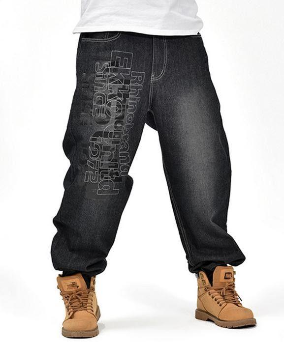Men's Black Baggy Jeans Hip Hop Designer Brand Skateboard Pants .