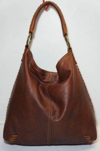 Details about Designer LUCKY Brand Brown Leather Hobo Tote .