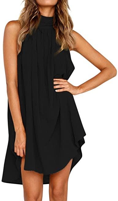 TWGONE Halter Dresses for Women Casual Summer Holiday Irregular .