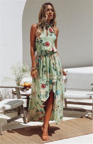 UK Women Long Maxi Dress Prom Evening Party Summer Beach Boho .
