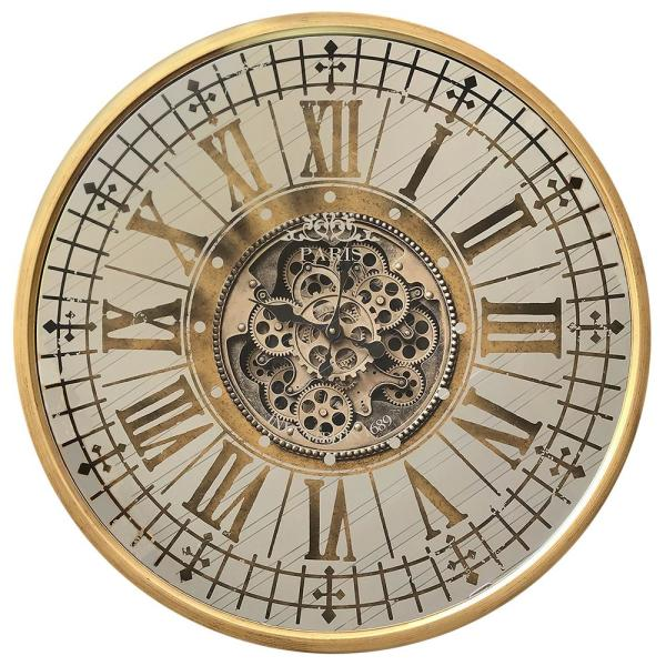 Yosemite Home Decor Golden Gears Antique Gold Wall Clock 5140032 .