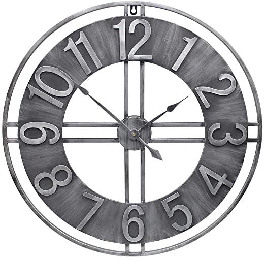 Amazon.com: YIDIE 24 inch Large Wall Clock Decorative Metal Retro .