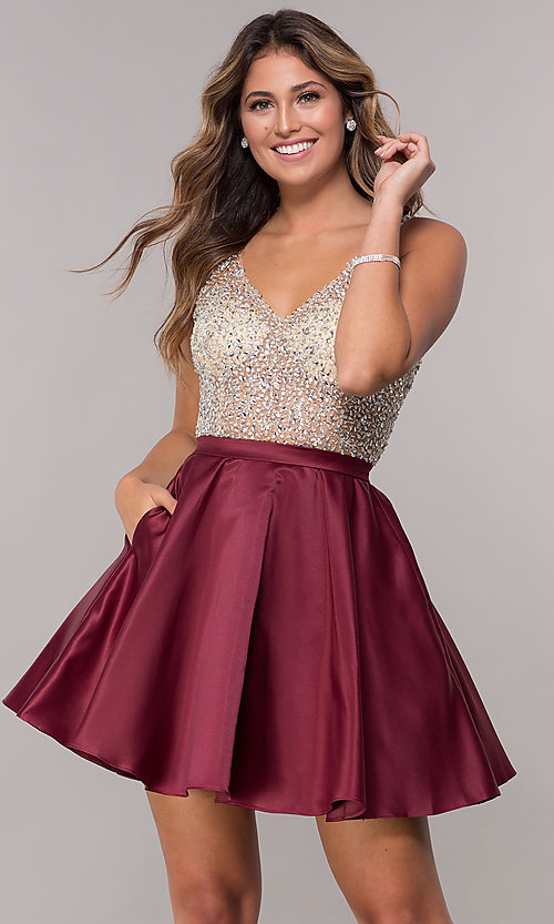 Sequin and Bead Embellished Homecoming Dress- PromGi