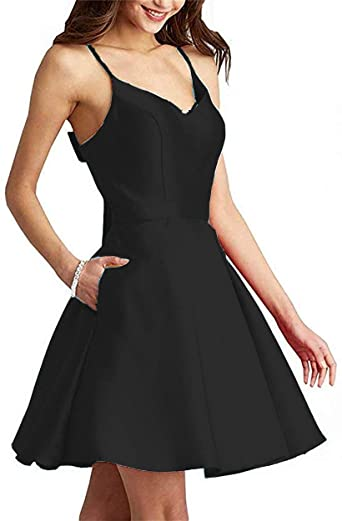 Amazon.com: Rjer V Neck Homecoming Dresses Short With Pockets For .
