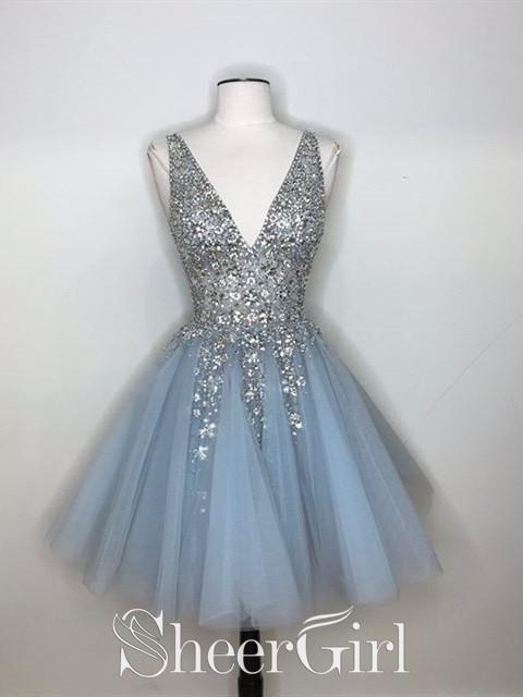 Sparkly A-line Deep V-neck Short Homecoming Dresses ARD2367 .
