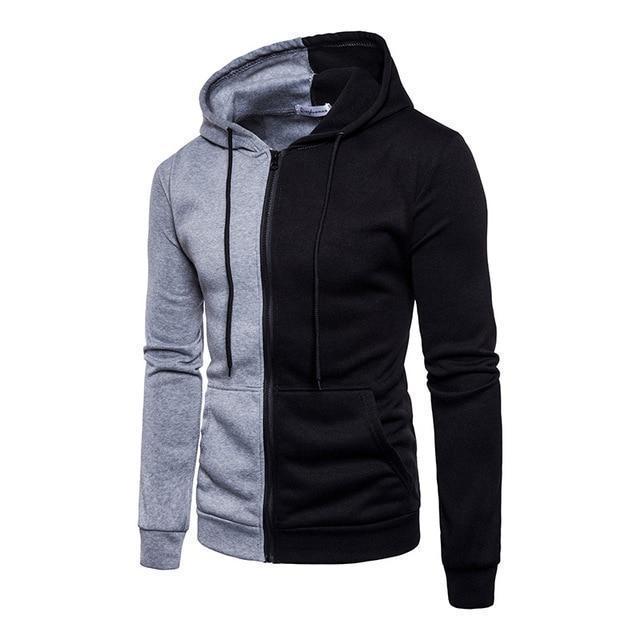 Casual Hoodies Men Fashion New Patchwork Hooded Sweatshirt Coat .
