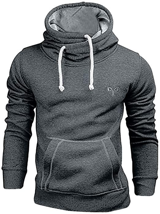 Mens Hoodies Pullover, Long Sleeve Casual Hoodie for Men Solid .