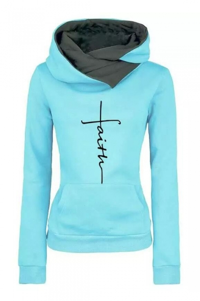 New Fashion Letter FAITH Pattern Long Sleeve Slim Fitted Hoodie .