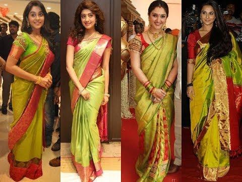 Silk Saree Celebrity   silk saree wearing styles for wedding .