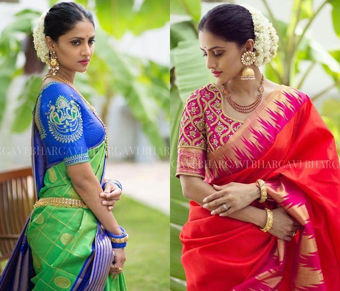 6 Tips To Wear Silk Saree Beautifully!   Blue silk saree, Silk .