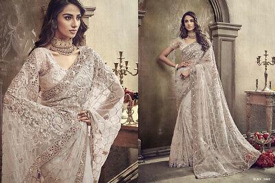 Wedding saree Designer Indian bridal heavy embroidery bollywood .