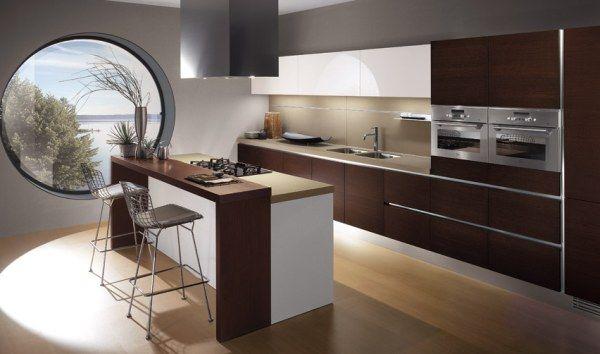 Gorgeous Modern Brown Minimalist Italian Kitchen Design Ide