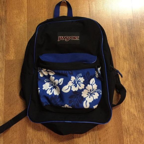 Jansport Bags   Black Backpack With Floral Design   Poshma