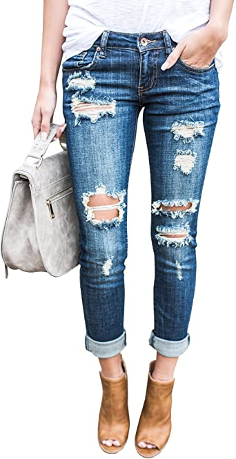 Ermonn Women Distressed Denim Jeans Skinny Stretch Roll Up Ripped .