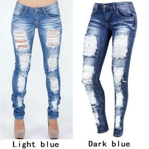 Distressed Jeans Ladies Cotton Denim Pants Stretch Womens Ripped .