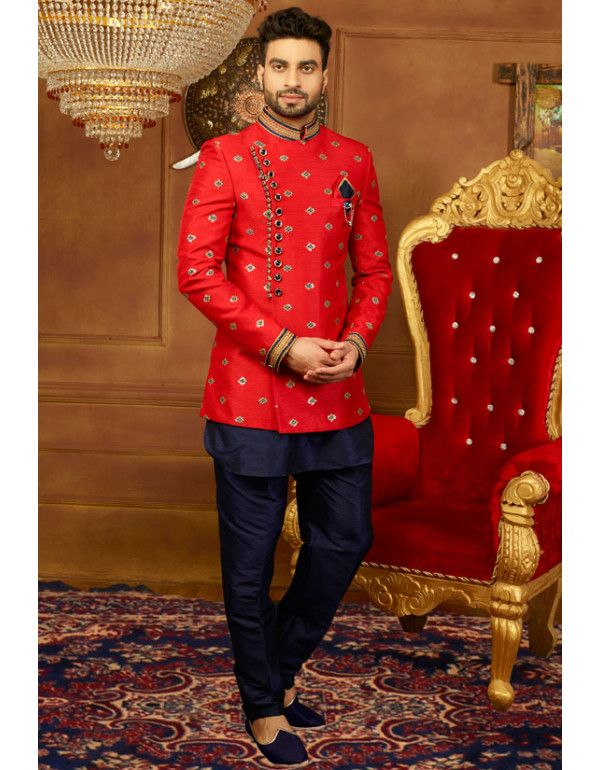 Hot Red and Midnight Blue 3 Piece Jodhpuri Suit | Wedding dresses .